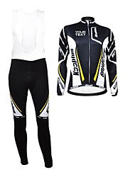 KOOPLUS Unisex Winter Customized Cycling Clothing Long Sleeve Jersey BIB Pants Thermal Fleece Cycling Suit--Black+White