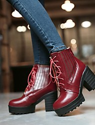 Women's Shoes Platform Round Toe Chunky Heel Ankle Boots with Lace-up More Colors available