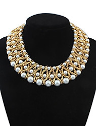 Women's Luxurious Layers Weaved Pearls Bib Statement Necklace