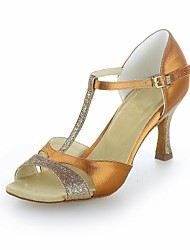 Non Customizable Women's Dance Shoes Latin Satin/Sparkling Glitter Flared Heel Black/Brown/Silver