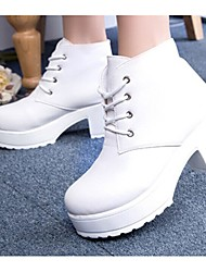 Winble Women's Fashion Causual Comfortable Tie Temperament High Heel Leather Martin Boots