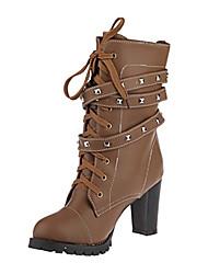 Zapatos de mujer - Tacón Robusto - Punta Redonda / Botas a la Moda - Botas - Vestido - Cuero Sintético - Negro / Marrón / Beige
