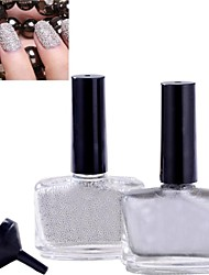 1PCS Nail Polish& 1PCS Caviar Top Coat Silver Nail Decoration Nail Art Set