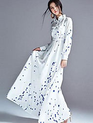 Women's Print White Dress , Casual/Maxi Shirt Collar Long Sleeve