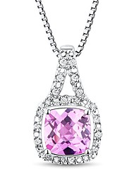 Women's Classic Sterling Silver with Created Pink Diamond Necklace