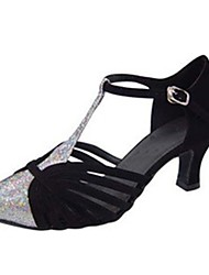 Non Customizable Women's Dance Shoes Modern Satin/Paillette Stiletto Heel Black/Other