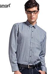 Lesmart Men's Plaid long-sleeved Shirt Business