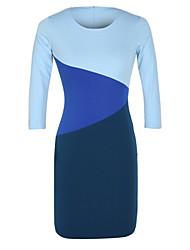 vestido de 3/4 de la manga de la manga larga delgada de color de contraste europeo de aless mujeres