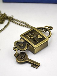 Women's Key Lock Like Dial Alloy Band Quartz Bronze Key Lock Necklace Watch