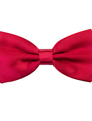 Red Solid Silk Bow Tie
