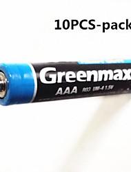 10pcs Greenmax 1.5v aaa baterias de zinco - manganês carbono