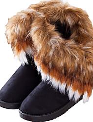 Хобо женские случайные классические теплая квартира пятки лисицы снегоступы черный