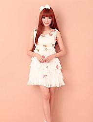 Elegant Solid Flower Adornment Sleeveless Pleated Dress White