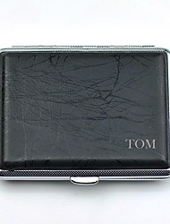 Personalized Pure copper Stick Leather Black Cigarette Case P2003-001 Can Carry 18 (Cigarette)