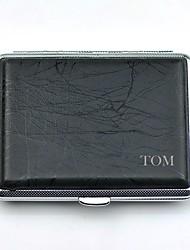 gepersonaliseerde zuiver koper stok lederen zwarte sigaret geval p2003-001 kan dragen 18 (sigaret)