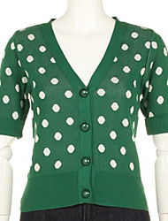 Lovely Spotted Button Closure V-neck Elbow Sleeve Cardigan Green