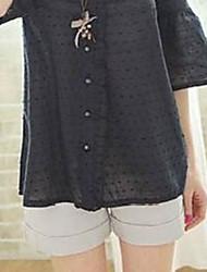 elegante botão de cor pura transformar-up calças curtas cinza claro