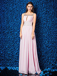 Vestido - Rosa Linha-A Quadrado Longo Georgette