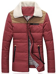 MANWAN WALK®Men's Casual Slim Thick Down Coat with Fur Collar.Warm Patchwork Winter Cotton-Padded Jacket.