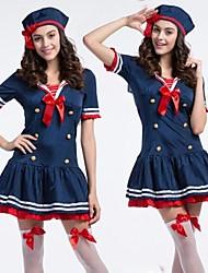 traje de Halloween vestido bacana marinheiro azul (2 peças)