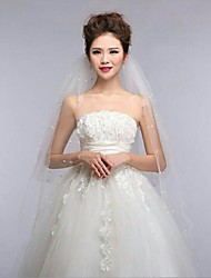 Wedding Veil Four-tier Fingertip Veils Cut Edge 39.37 in (100cm) Tulle