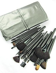 24PCS Cyan Handle Makeup Brush Set with Cyan Pouch