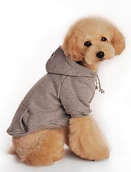 Dog Coat / Hoodie Gray Winter Solid Fashion
