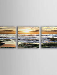 Stretched Canvas Art Landscape Rolled Waves Set of 3