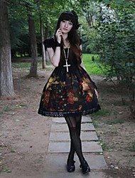 One-Piece/Dress Gothic Lolita Lolita Cosplay Lolita Dress Black Patchwork / Print Short Sleeve Medium Length Dress For Women Polyester