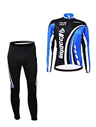 KOOPLUS Unisex Spring Autumn Customized Cycling Clothing Long Sleeve Jersey Pants Polyester Cycling Suit--Black+Blue