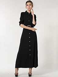 Women's Casual/Daily A Line Dress,Solid Shirt Collar Maxi Long Sleeve Black Cashmere Spring / Fall / Winter