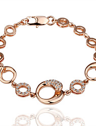 Fashion Round Women's White Rhinestones Rose Gold Plated Tin Alloy Chain & Link Bracelet(Rose Gold)(1Pc)