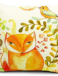 raposa e pássaro de algodão / linho fronha decorativo