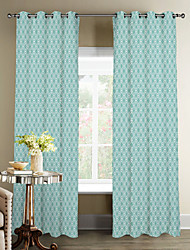 Modern Minimalist Blue Rhombus Curtain (Two Panels)