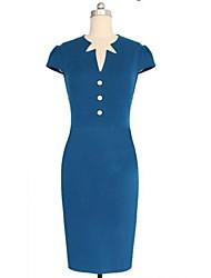 Women's Vintage Deep V/Asymmetrical Dress , Cotton Blends Blue/Pink Bodycon