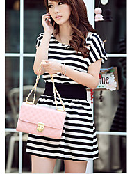 Stripe Design Round Collar Dress Black