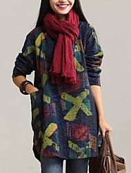 Women's Print Print Loose Dress , Round Neck Mini Cotton