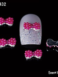 10pcs Rose Red Round Bow Tie 3D Alloy Nail Design  DIY Nail Art Decoration
