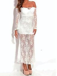 strapless vestido de renda branco maxi das mulheres