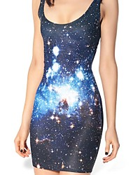 Galaxy Blue Stars Skater Dress Night Club Uniform