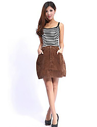 New Style Fashionable Pure Color Lady's Skirt Brown