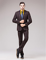 Coffee Polyester Slim Fit Two-Piece Suit