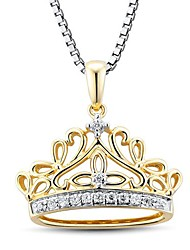 Women's Fashion Yellow Gold Plated Crown Shape Sterling Silver with Cubic Zirconia Necklace