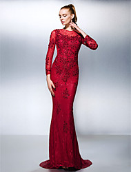 Mermaid / trompete jóia com pescoço varredura / pincel de renda vestido de dama de renda por ts couture®