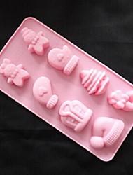 8 trous moules de chocolat de gelée de glace gâteau en forme de cadeau de Noël de moule, silicone 22,4 × 11,8 × 2,2 cm (8,8 × 4,6 × 0,9 pouces)