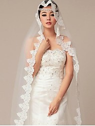 One-tier Tulle Cathedral Wedding Veils With Cut Edge