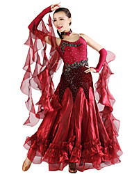 Ballroom Dance Outfits Women's Spandex / Tulle / Velvet Red / Royal Blue / Burgundy Modern Dance / Ballroom