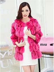 abrigo largo de piel de abrigos de piel de las mujeres cabeza de zorro (más color)