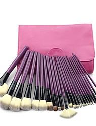 Professional 24pcsPurple Makeup Brush Cosmetic Tool Kit Eyeshadow Powder Brush Set with Leather Case