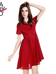haoduoyi® Women's Invisible Buttons Back Cut Out Tight Waist Pleated Shirt Dress